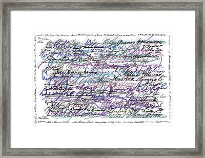 All The Presidents Signatures Blue Rose Framed Print