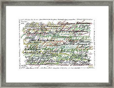 All The Presidents Signatures Green Sepia Framed Print by Tony Rubino