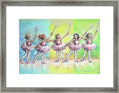 All Together Now...first Ballet Recital Framed Print by Laurie Shanholtzer