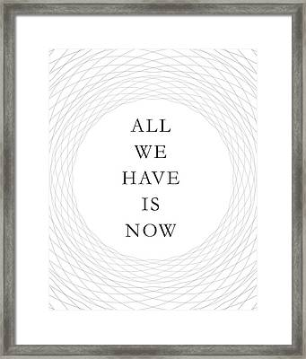 All We Have Is Now Framed Print