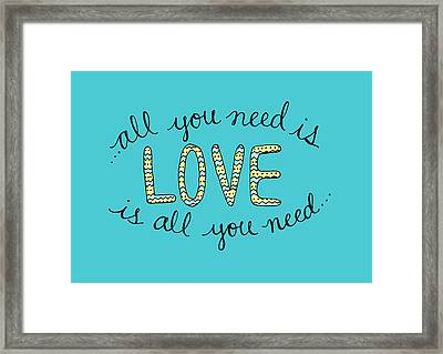 All You Need Is Love Blue And Yellow Framed Print by Michelle Eshleman