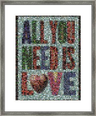 All You Need Is Love Mosaic Framed Print by Paul Van Scott