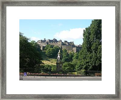 Allan Ramsay Statue And Edinburgh Castle Framed Print by Keith Stokes