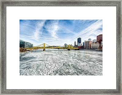 Allegheny River Frozen Over Pittsburgh Pennsylvania Framed Print by Amy Cicconi