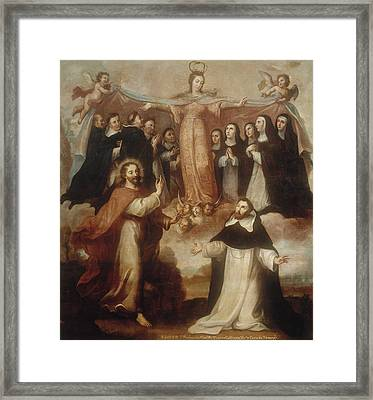 Allegory Of The Virgin Patroness Of The Dominicans Framed Print by Miguel Cabrera