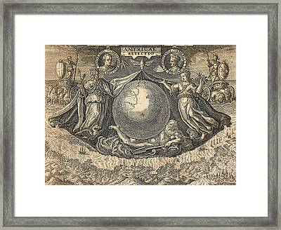 Allegory Of West Indies Or Americas, With Portraits Of Navigators Columbus And Vespucci Framed Print by Theodore de Bry