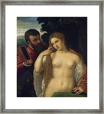 Allegory. Possibly Alfonso D'este And Laura Dianti Framed Print by Follower of Titian