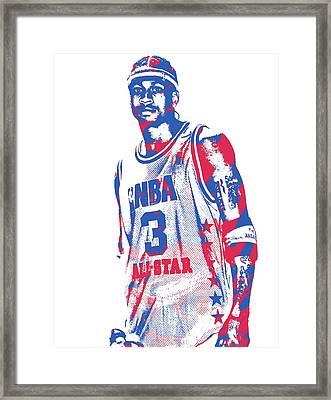 Allen Iverson Philadelphia 76ers Pixel Art 11 Framed Print