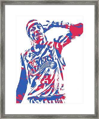 Allen Iverson Philadelphia 76ers Pixel Art 14 Framed Print