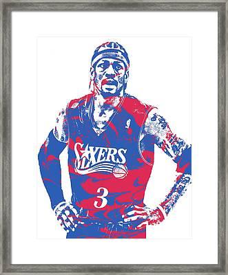 Allen Iverson Philadelphia 76ers Pixel Art 15 Framed Print