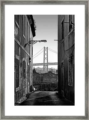 Alley And Bridge Over Tagus, Lisbon Framed Print