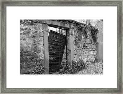 Alley Gate B W Framed Print