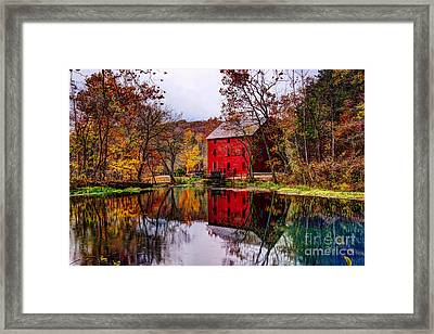 Alley Mill And Alley Spring In Autumn Framed Print