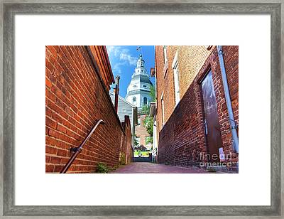 Alley View Of Maryland State House  Framed Print