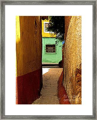 Alley With The Green Casa Framed Print by Mexicolors Art Photography