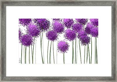 Alliums Flower Art - Purple And Gray Art Framed Print by Lourry Legarde