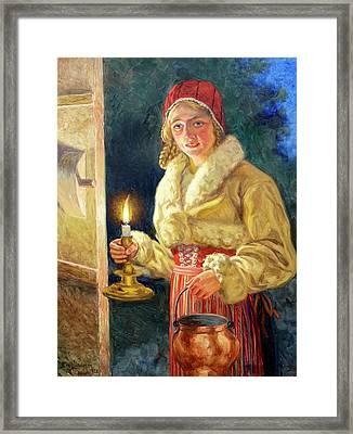Allmogeflicka Med Ljus Framed Print by MotionAge Designs