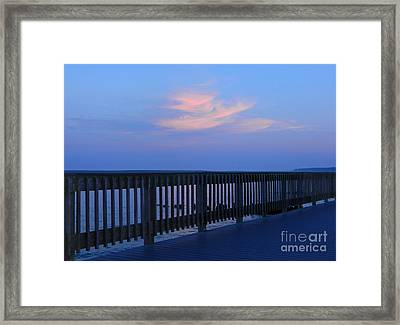 Alls Quiet On The Beach Front Framed Print