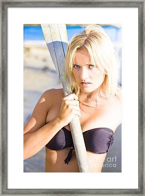 Alluring Blonde Rower Framed Print