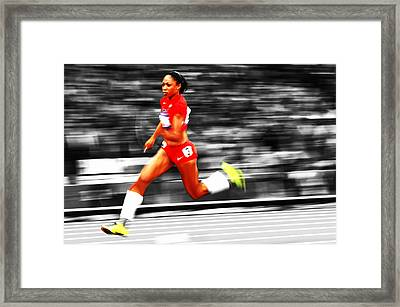 Allyson Felix In Warp Speed Framed Print by Brian Reaves