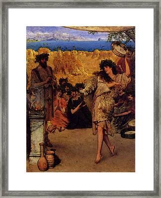 Alma Tadema A Harvest Festival  A Dancing Bacchante At Harvest Time  Framed Print