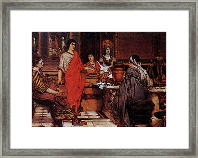 Alma Tadema Catullus At Lesbia S Framed Print by Lawrence Alma Tadema