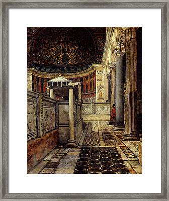 Alma Tadema Interior Of The Church Of San Clemente Rome Framed Print