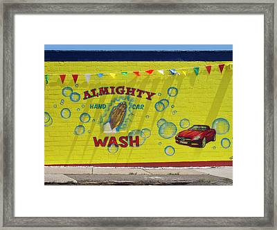 Almighty Car Wash Framed Print