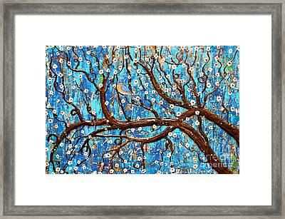 Framed Print featuring the mixed media Almond Blossoms by Natalie Briney