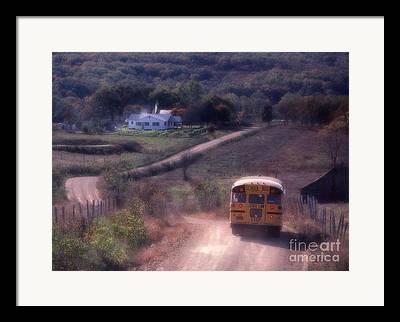 Rural School Bus Framed Prints