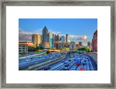 Framed Print featuring the photograph Almost Sunset Atlanta Downtown Cityscape Art by Reid Callaway