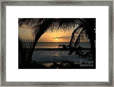 Aloha Aina The Beloved Land - Sunset Kamaole Beach Kihei Maui Hawaii Framed Print by Sharon Mau