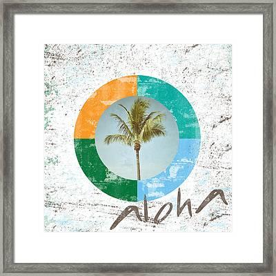 Aloha Palm Tree Framed Print