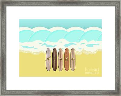 Aloha Surf Wave Beach Framed Print