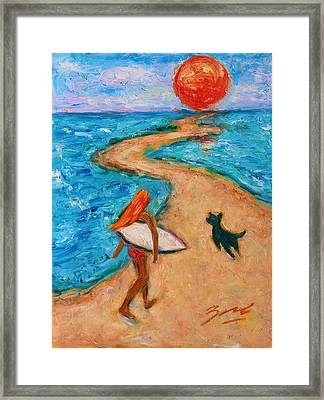Framed Print featuring the painting Aloha Surfer by Xueling Zou