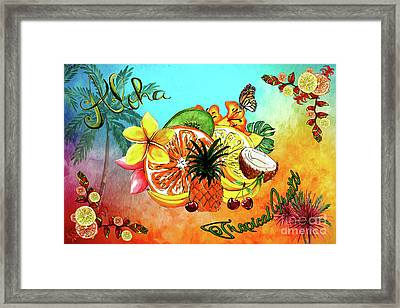 Framed Print featuring the digital art Aloha Tropical Fruits By Kaye Menner by Kaye Menner