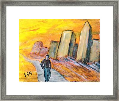 Alone In The City Framed Print by Van Winslow