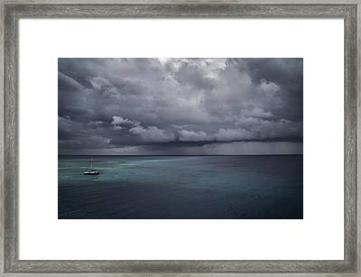 Alone In The Storm, Even In Paradise By Dave Framed Print by Photography by Phos3 Kathryn Parent and Dave Paddick