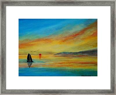 Alone In Winter Sunset Framed Print