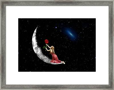 Alone On The Clouds Framed Print by Louloua Asgaraly