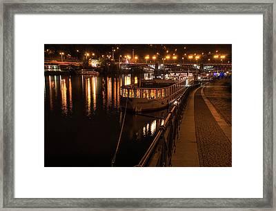 Along Quay Of River Vltava. Night Prague Framed Print