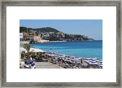 Framed Print featuring the painting Along The Beach In Nice Looking Over Toward Monaco by Rod Jellison