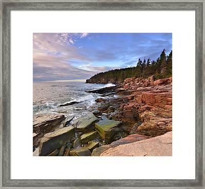 Framed Print featuring the photograph  Along The Maine Coastline by Stephen  Vecchiotti