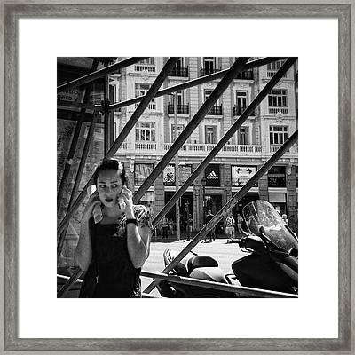 Alo?  #girl #woman #portrait Framed Print by Rafa Rivas