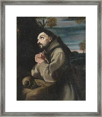 Alonso Cano Saint Francis In The Wilderness Praying To A Crucifix Framed Print