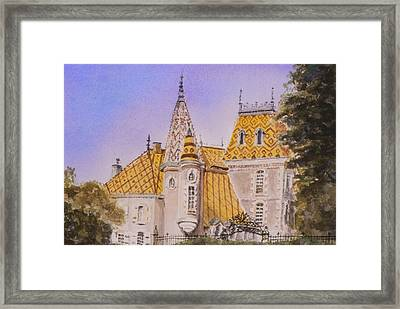 Framed Print featuring the painting Aloxe Corton Chateau Jaune by Mary Ellen Mueller Legault