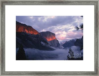 Alpen Glow On El Capitan Framed Print by Stan and Anne Foster