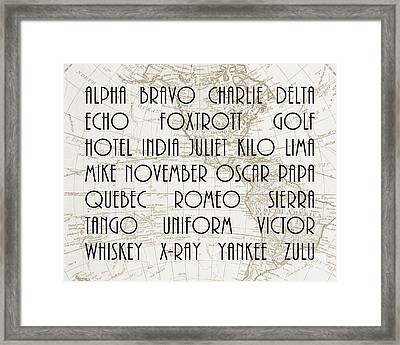 Alpha Bravo Charlie Framed Print by Delphimages Photo Creations