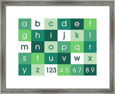 Alphabet Green Framed Print