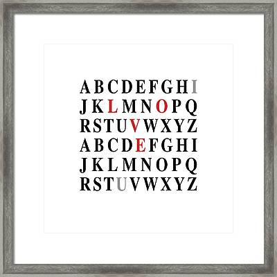Alphabet I Love U Framed Print